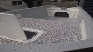Sea Dek, front hatch, casting decks and rod holders standard
