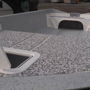 Sea Dek, front hatch, casting decks and rod holders standard
