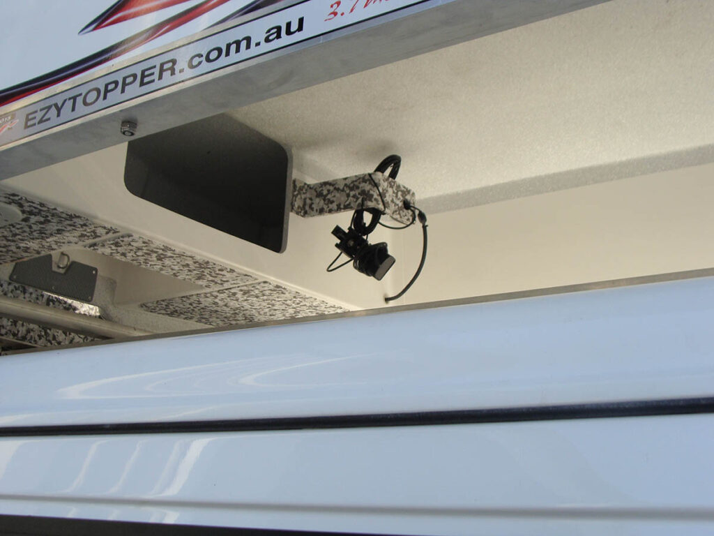 Internal Transducer mount on the inside of EzyTopper, to store transducer while travelling