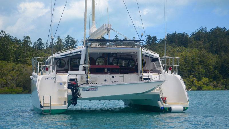 Ezytopper Tender Boat on a catamaran